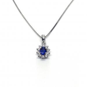Pendente con Diamanti e Zaffiro Linea Katia
