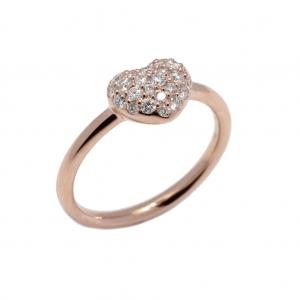 Anello Cuore in Oro Rosa con Diamanti