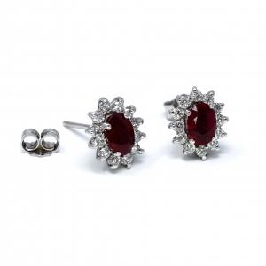 Orecchini con Rubino e Diamanti Linea Antea