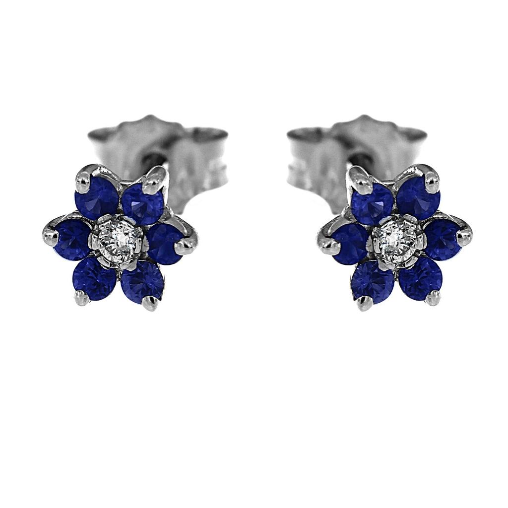 Orecchini Fiore con Diamanti CT 0.04 e 12 Zaffiri CT 0.24