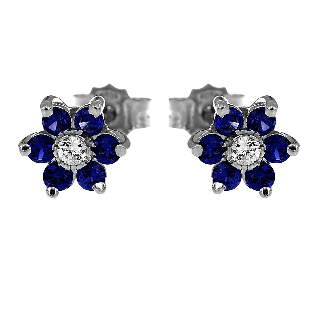 Orecchini Fiore con Diamanti CT 0.04 e 12 Zaffiri CT 0.51