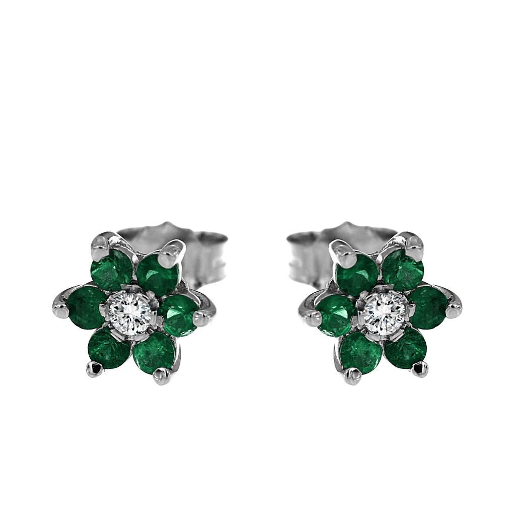 Orecchini Fiore con Diamanti CT 0.08 e 12 Smeraldi CT 0.48