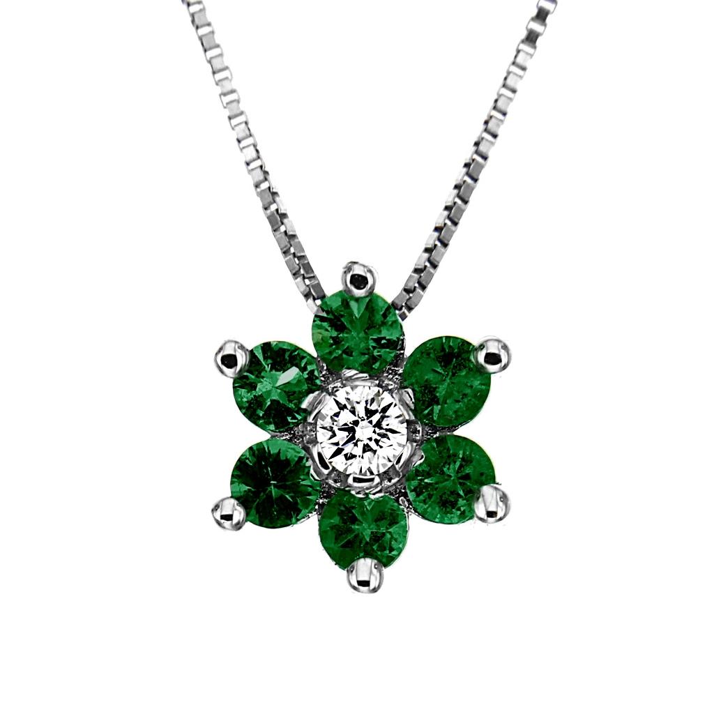Pendente Fiore con Diamante CT 0.04 e 6 Smeraldi CT 0.24