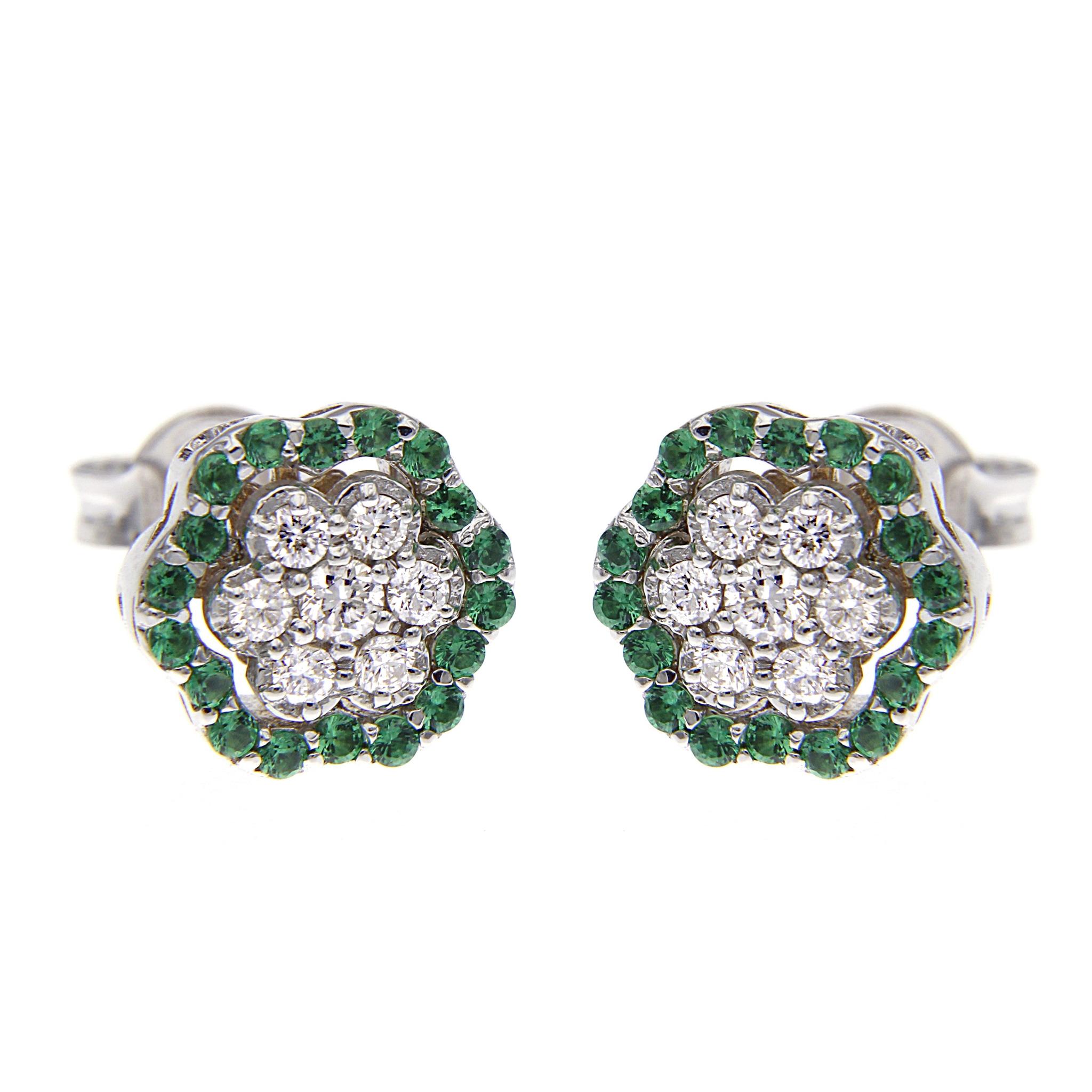 Orecchini Margherita 36 Smeraldi CT 0.24 e 14 Diamanti CT 0.30