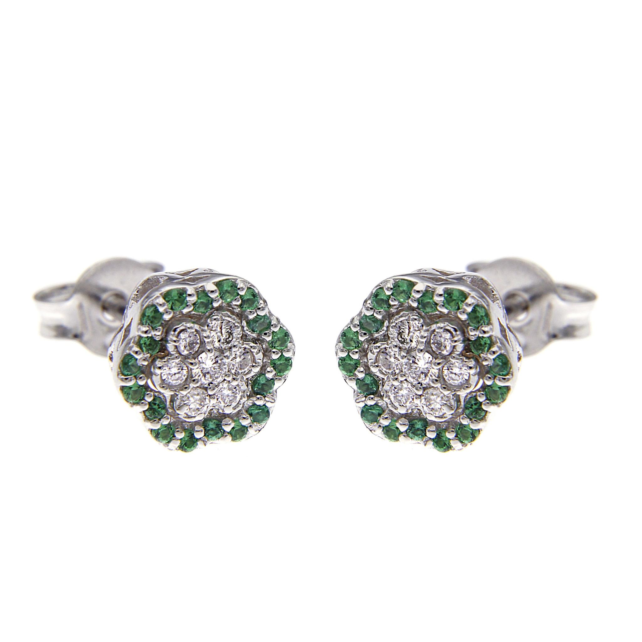 Orecchini Margherita 36 Smeraldi CT 0.18 e 14 Diamanti CT 0.20