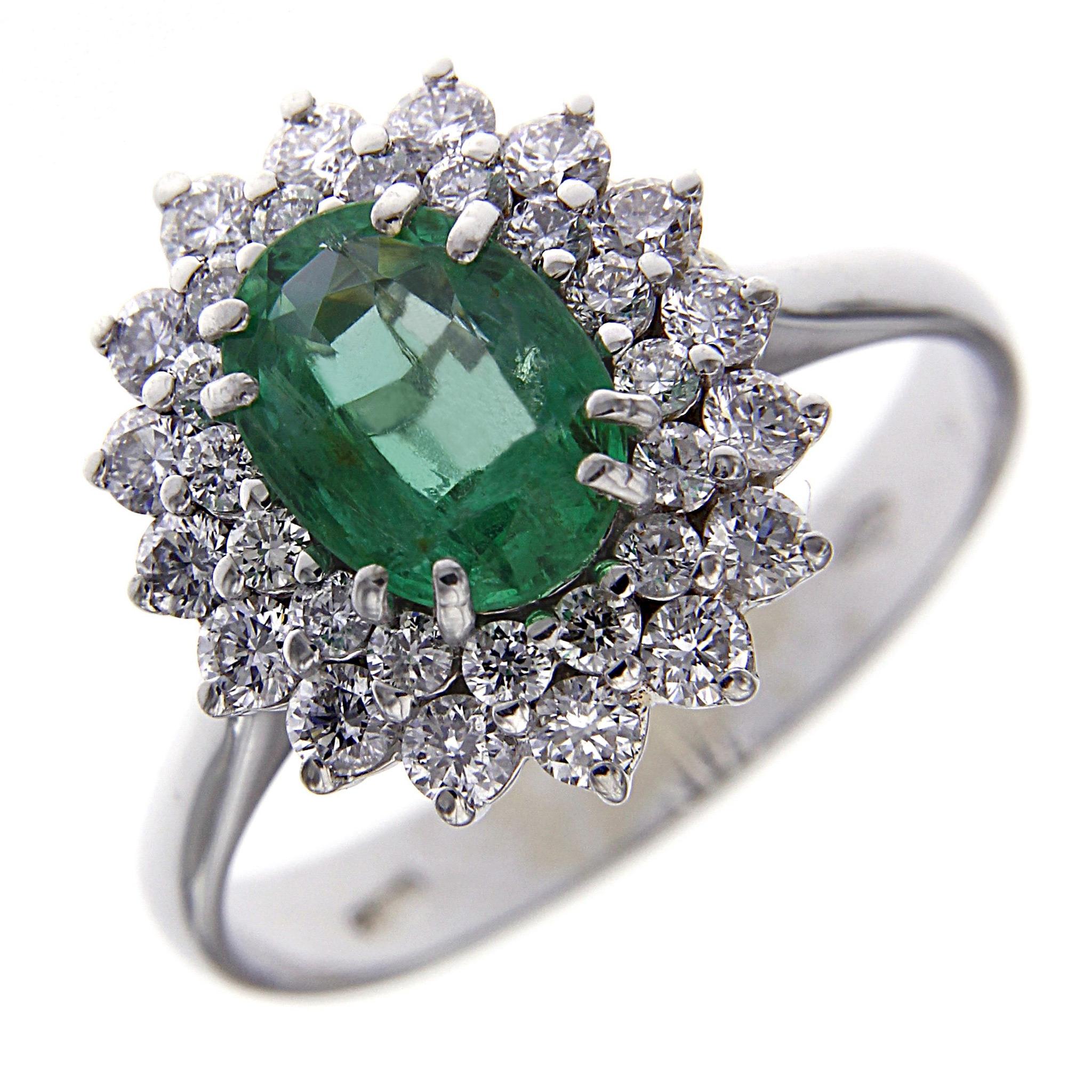 Anello di diamanti e smeraldo