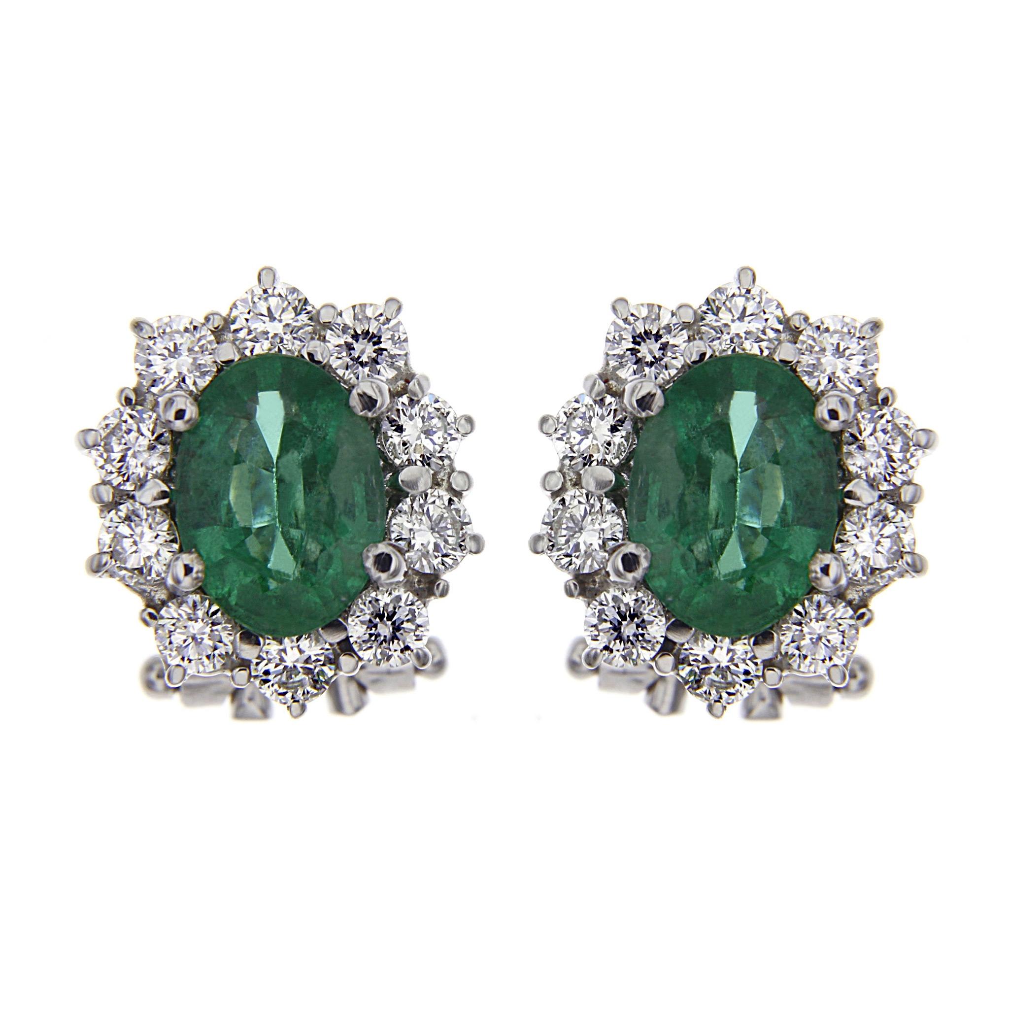 Orecchini con Diamanti CT1.01  e Smeraldo CT 1.90