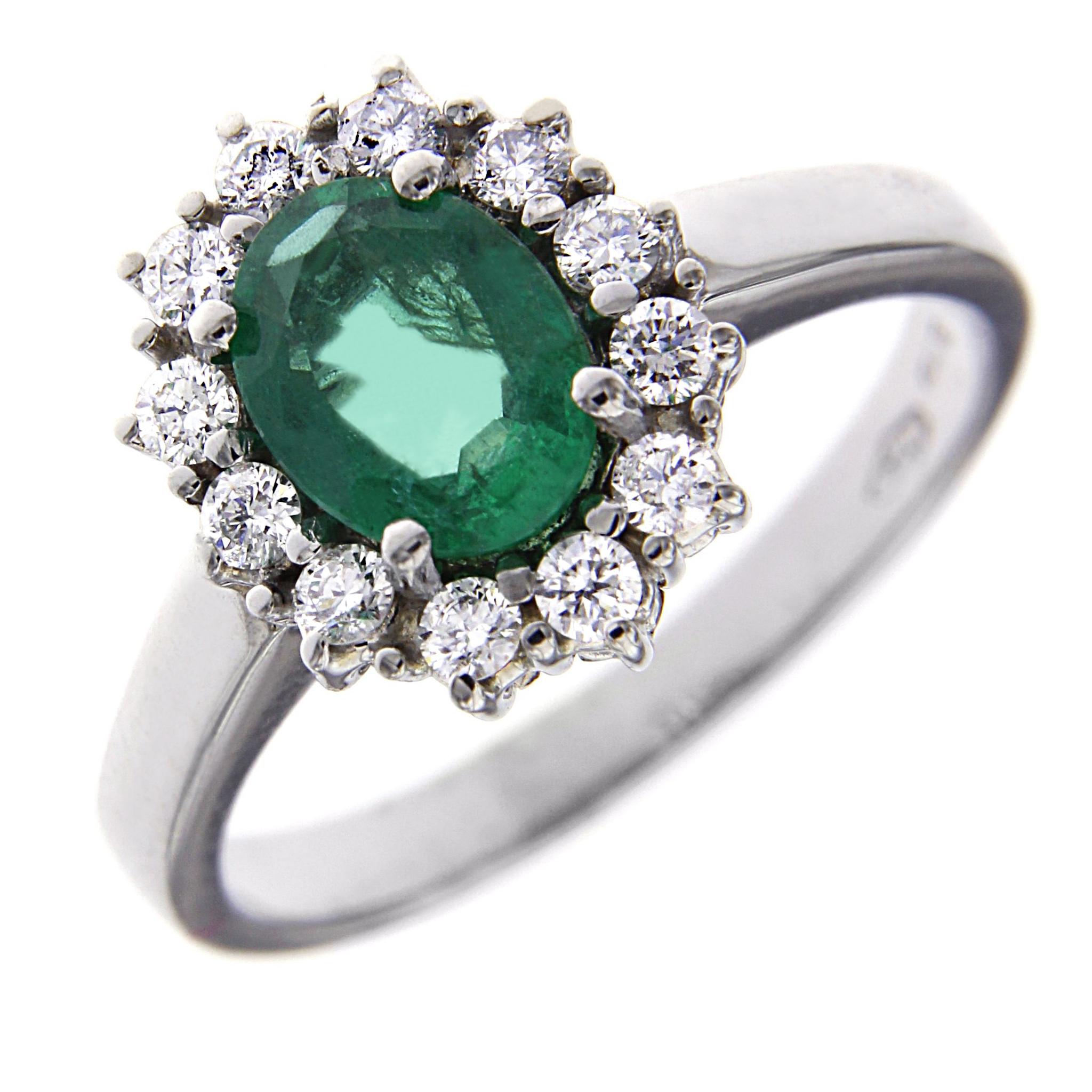 Anello con Smeraldo e Diamanti Linea Antea