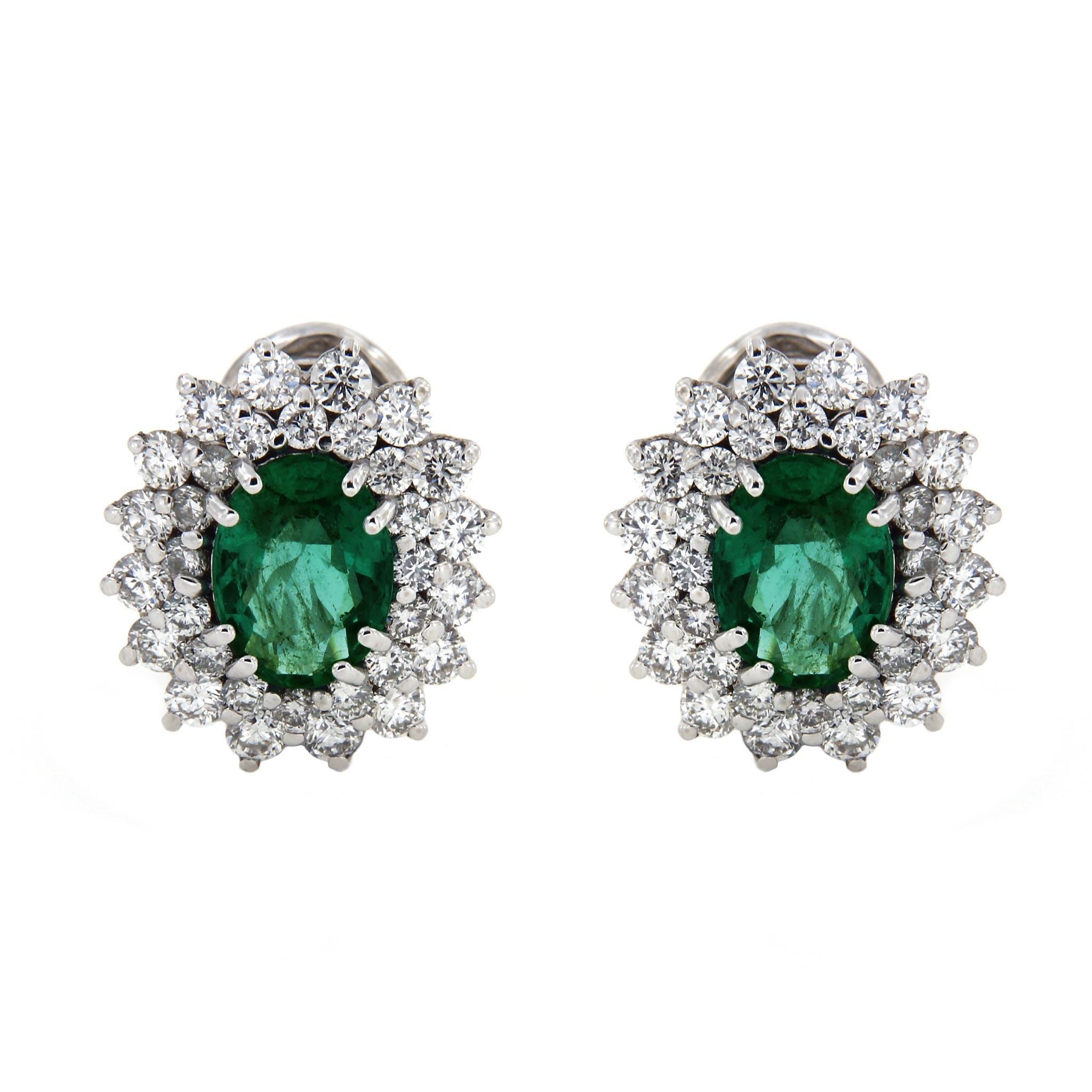 Orecchini con Diamanti e Smeraldo Linea Ines
