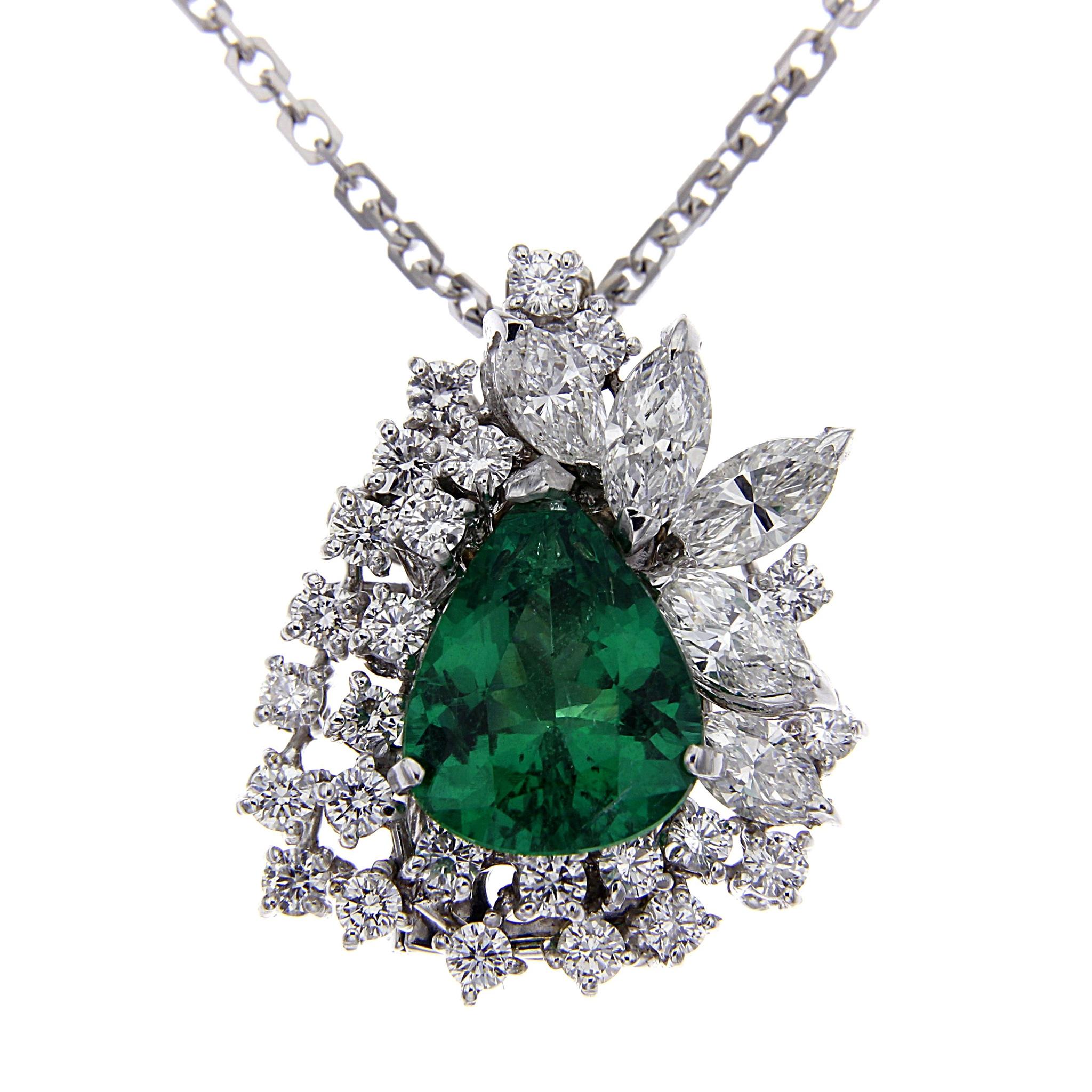 Anello con Diamanti e Smeraldo intercambiabile a pendente