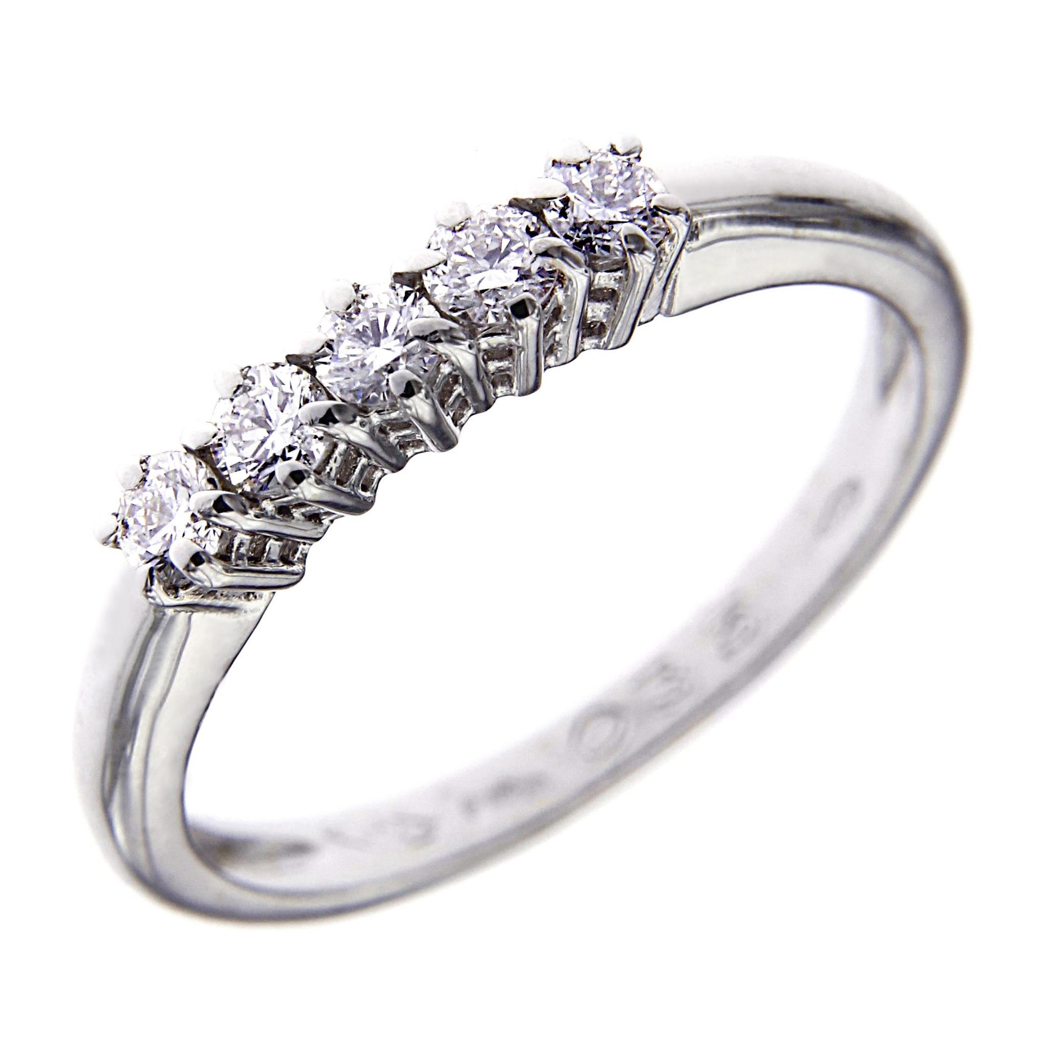 Anello Veretta con 5 Diamanti  CT 0.35