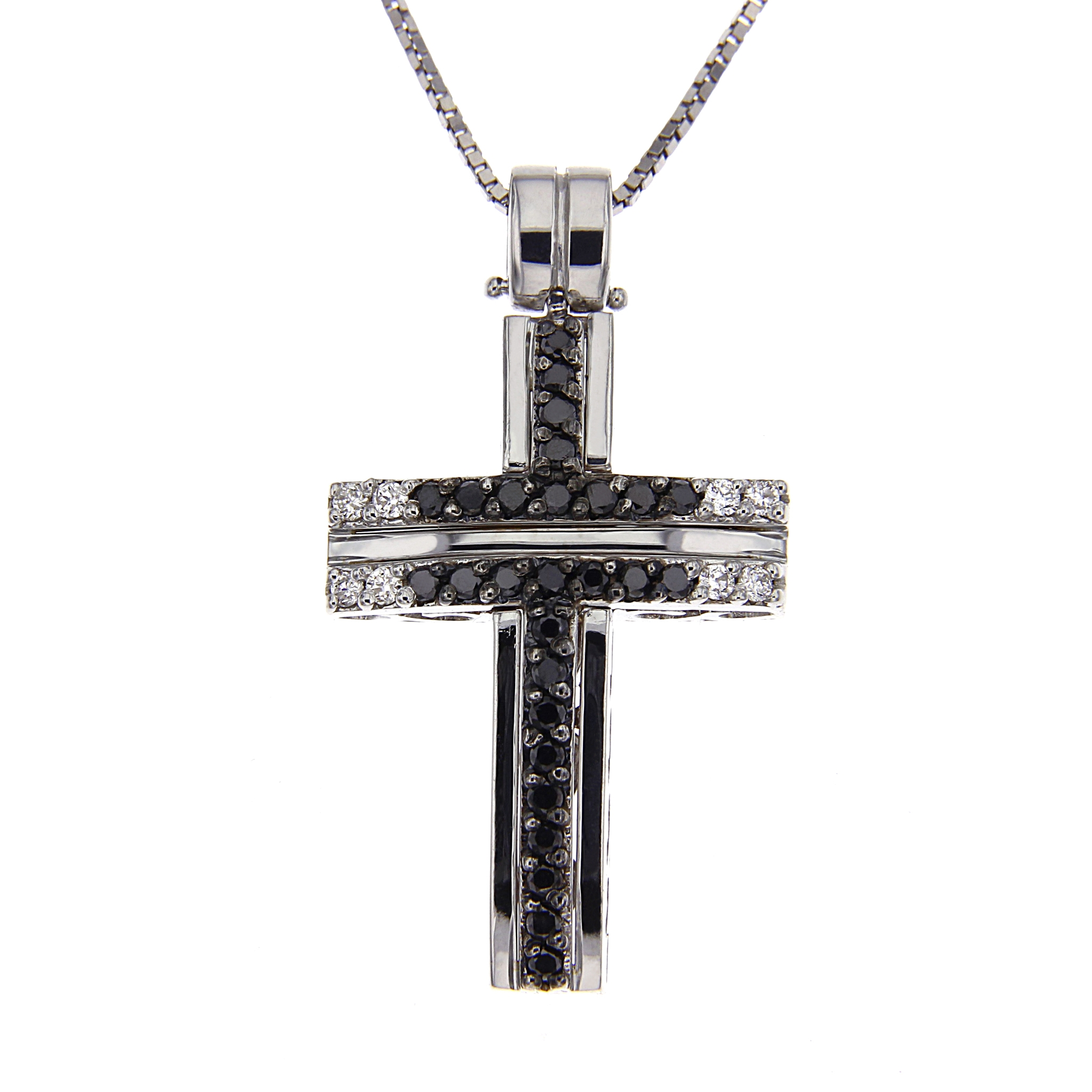 Pendente Croce Diamanti Bianchi CT 0.09 - Neri CT 0.30