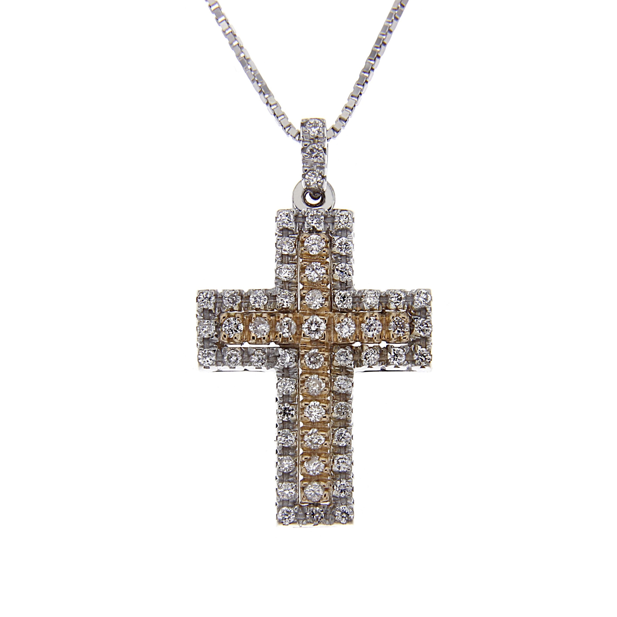 Pendente Croce Bicolore Diamanti Bianchi CT 0.34