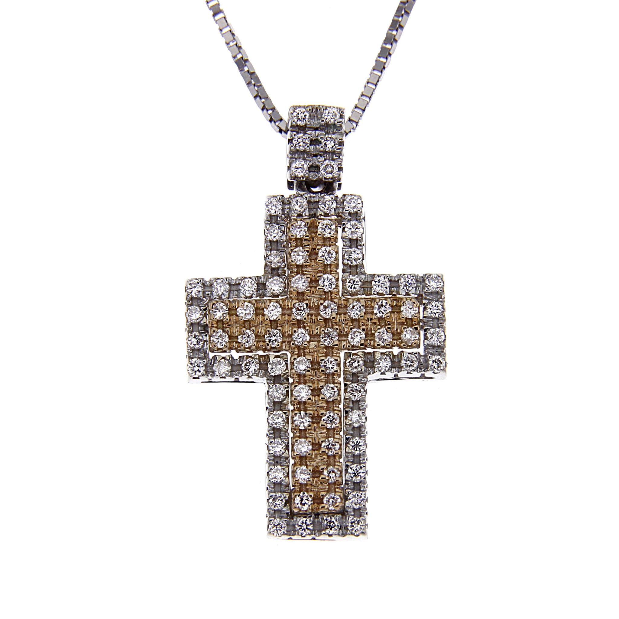 Pendente Croce bicolore con Diamanti Bianchi CT 0.41