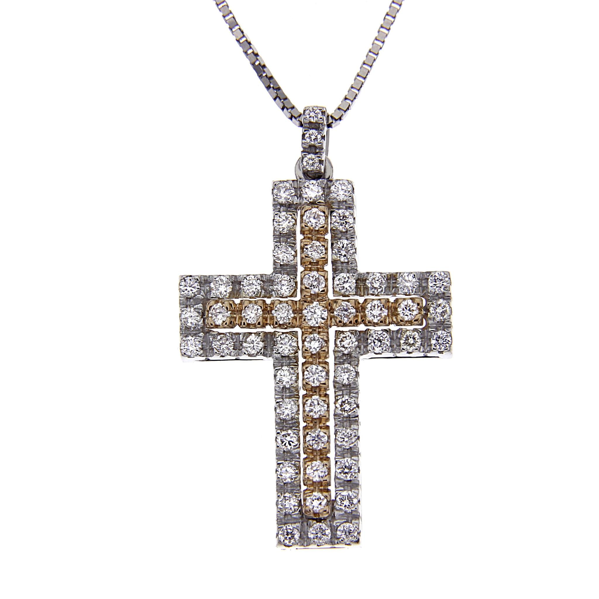 Pendente Croce bicolore con Diamanti Bianchi CT 0.42