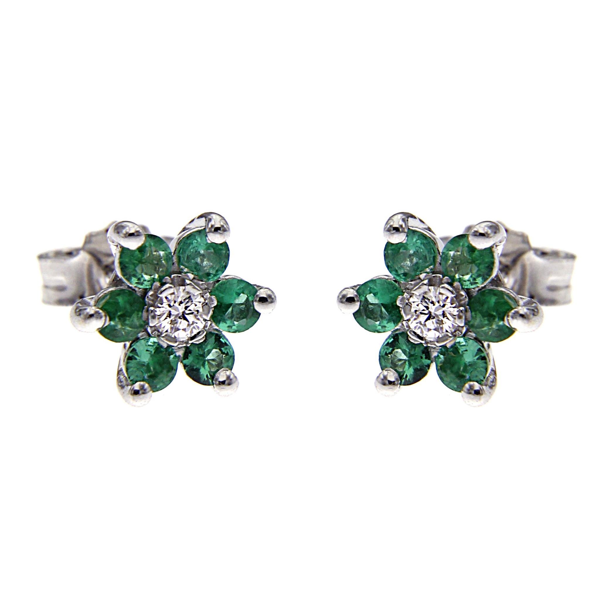 Orecchini Fiore con Diamanti CT 0.08 e 12 Smeraldi CT 0.60
