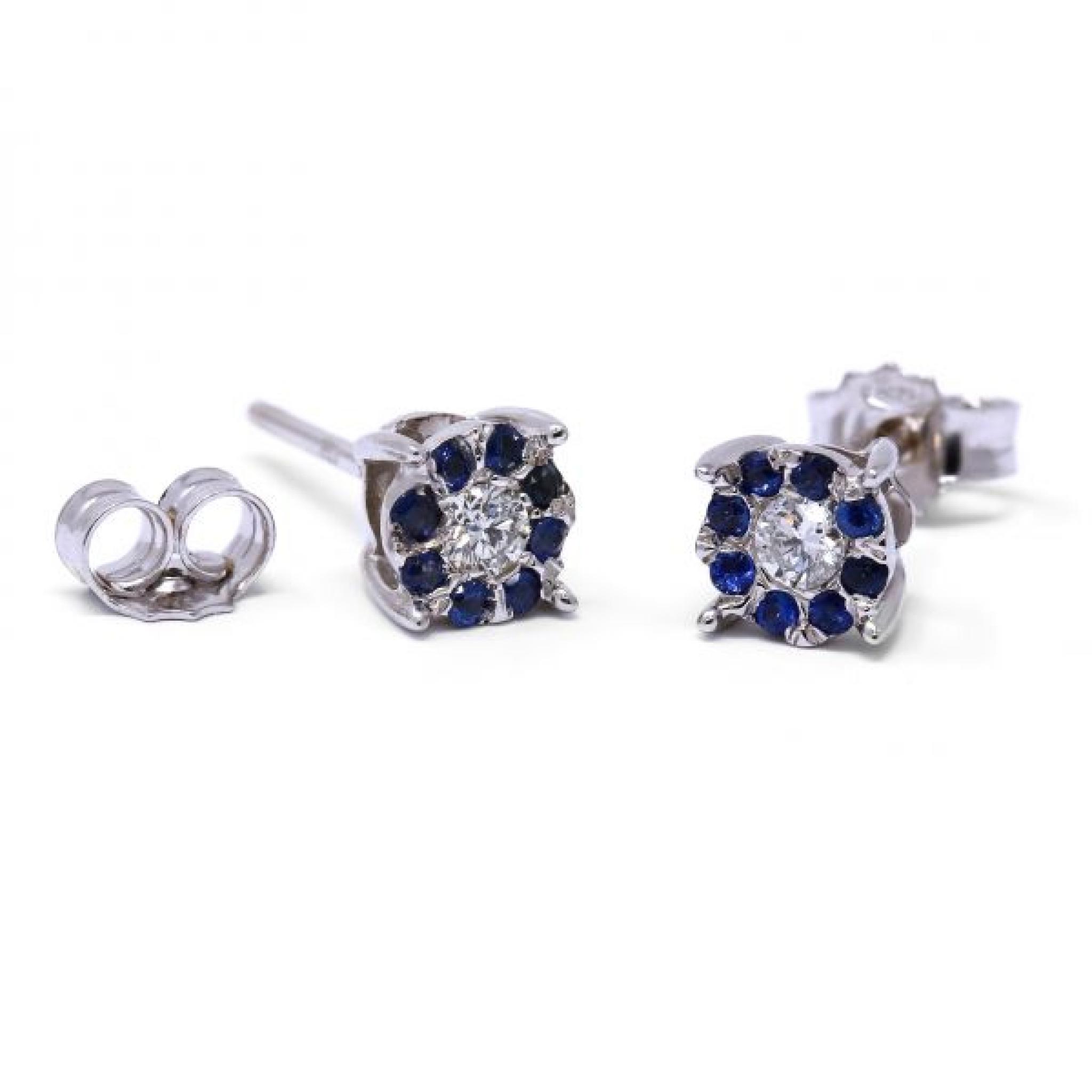 Orecchini con Zaffiri e Diamanti Linea Fiore