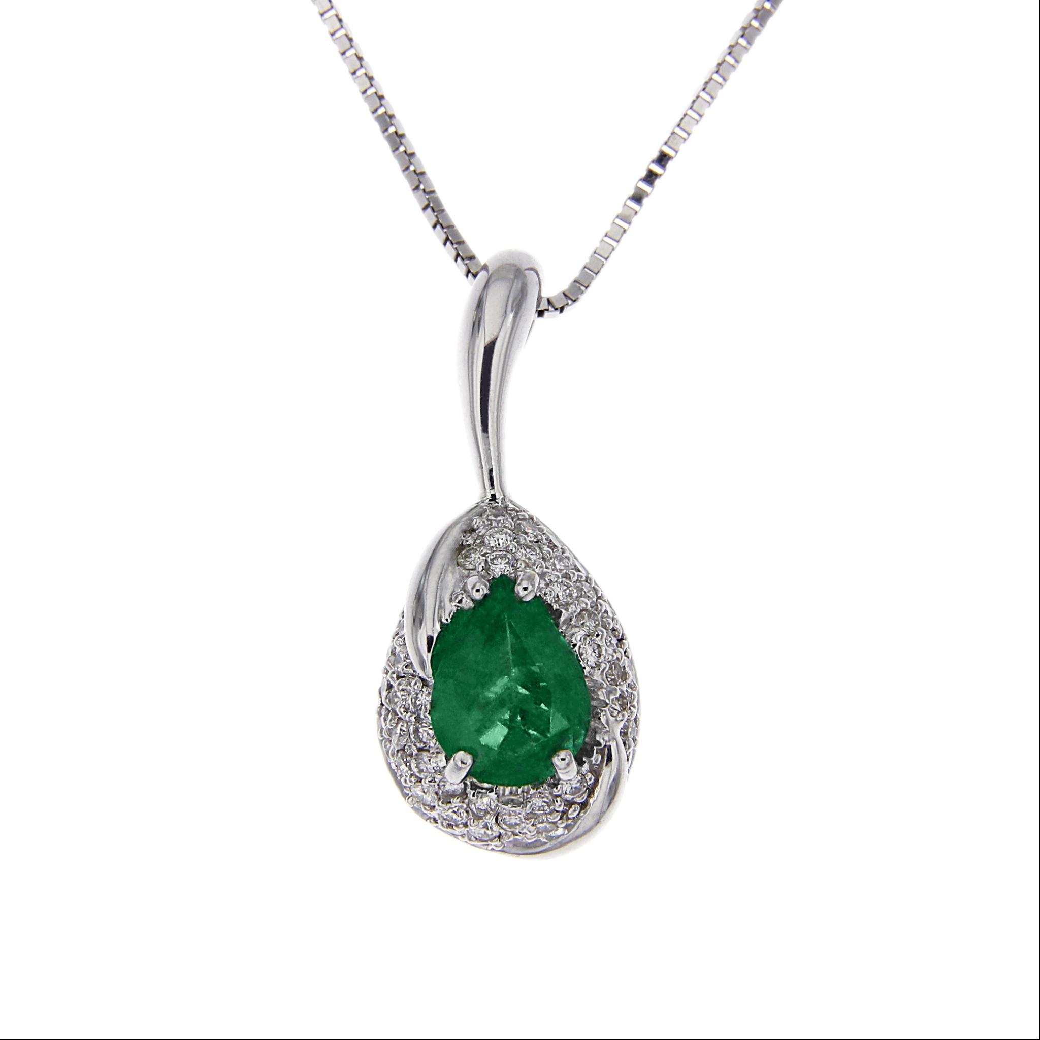 Pendente goccia di smeraldo con diamanti ct italiana gioielli gioielleria online - Gemelli diversi alla goccia testo ...