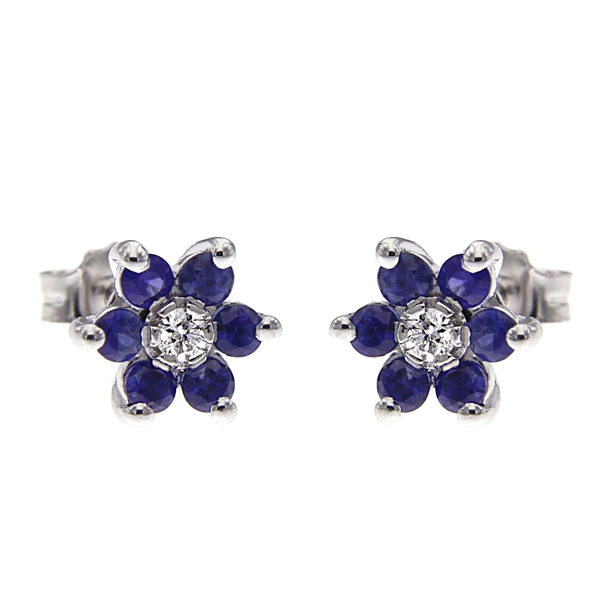 Orecchini Fiore con Diamanti CT 0.08 e 12 Zaffiri CT 0.84