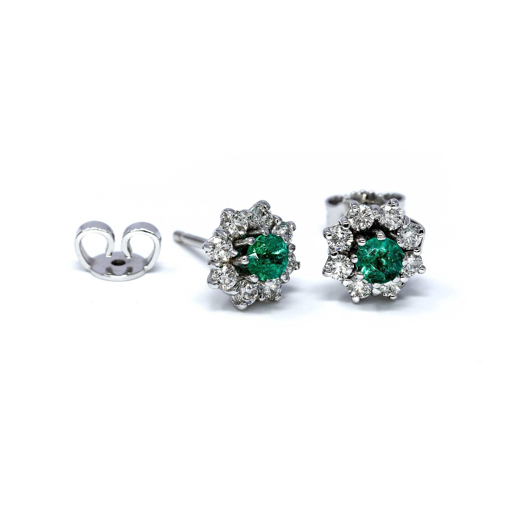 Orecchini con Smeraldi e Diamanti Linea Fiore