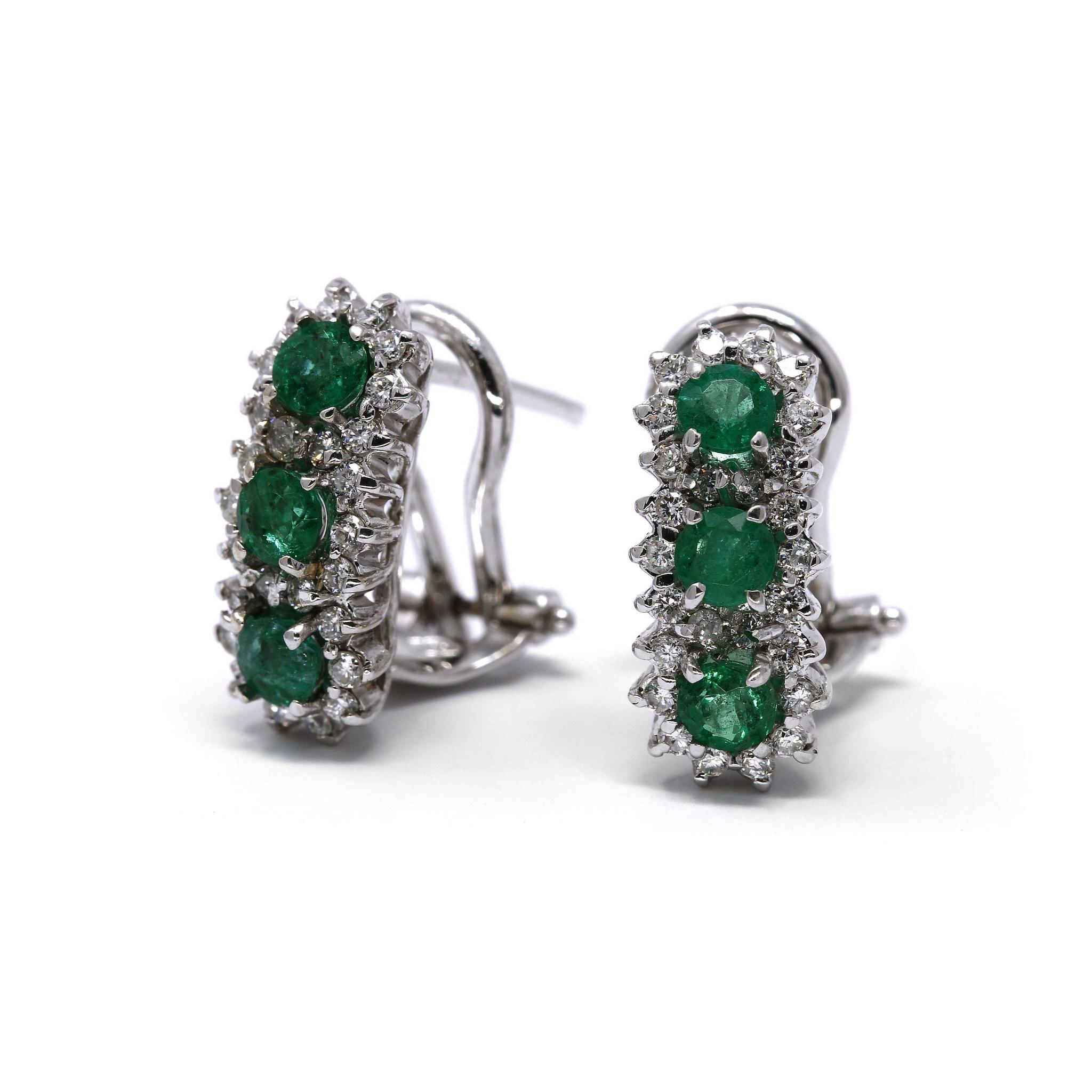 Orecchini con Smeraldi e Diamanti CT 0.52 Linea Ada