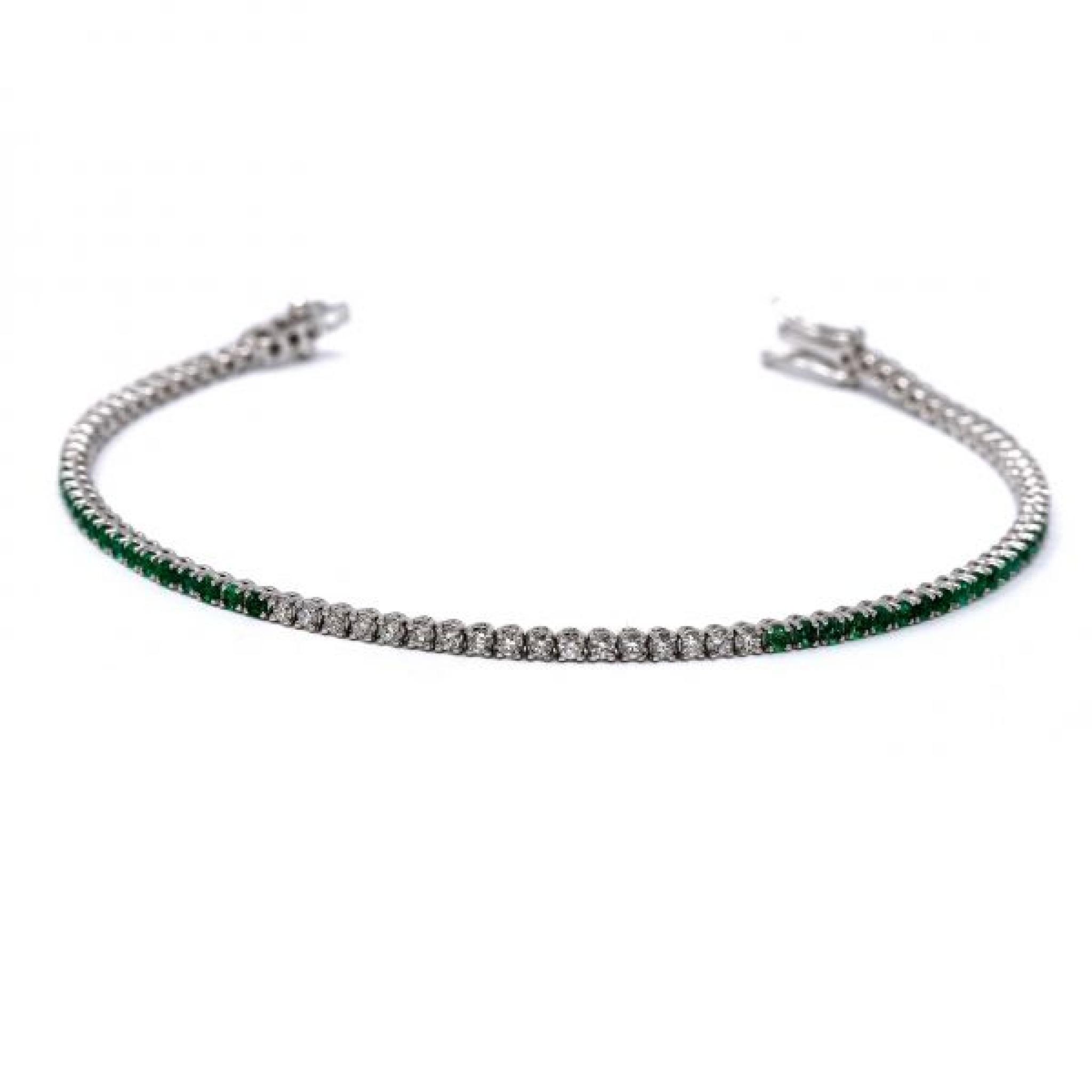 Bracciale Tennis con Smeraldi e Diamanti