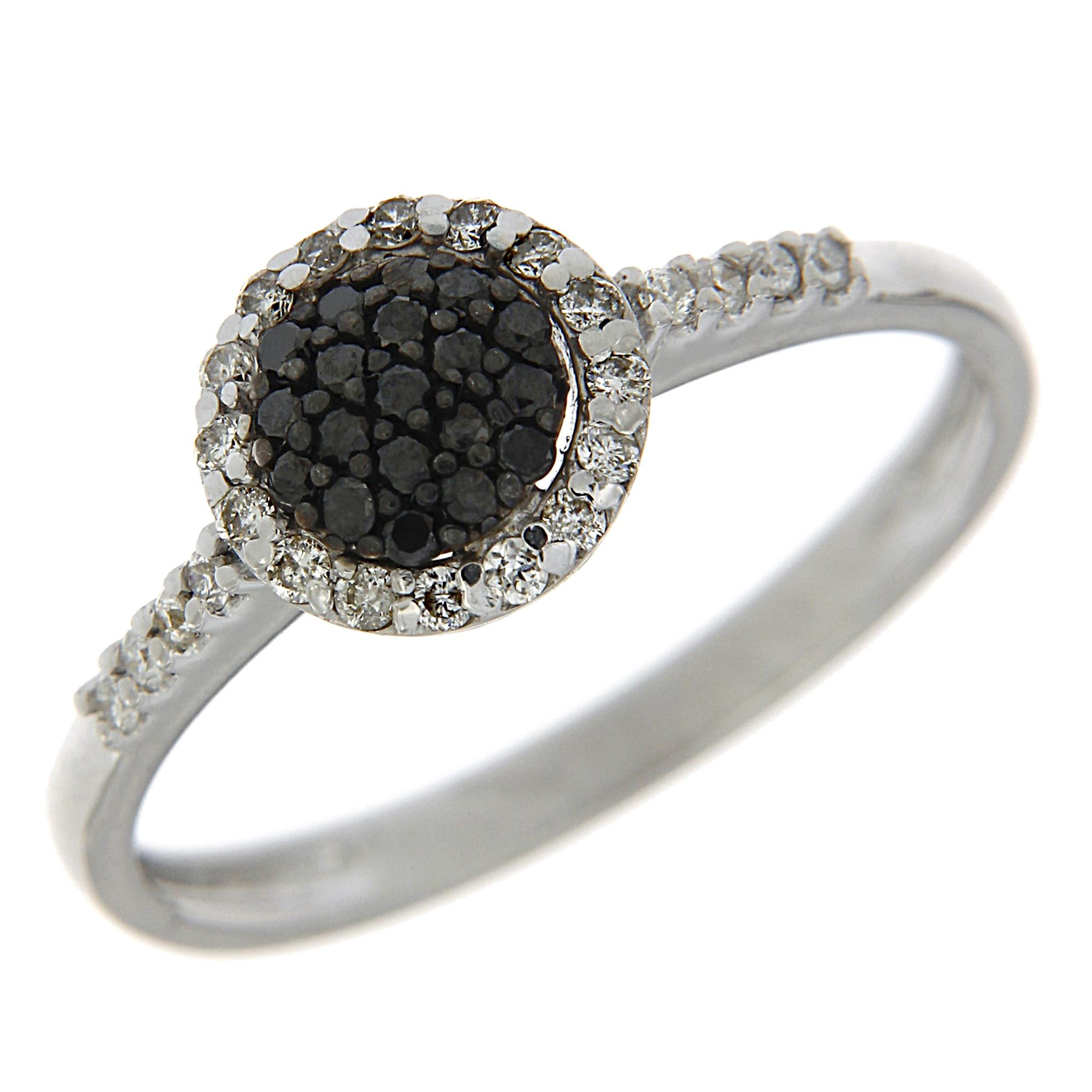 Anello con Diamanti Bianchi e Neri Linea Fiamma
