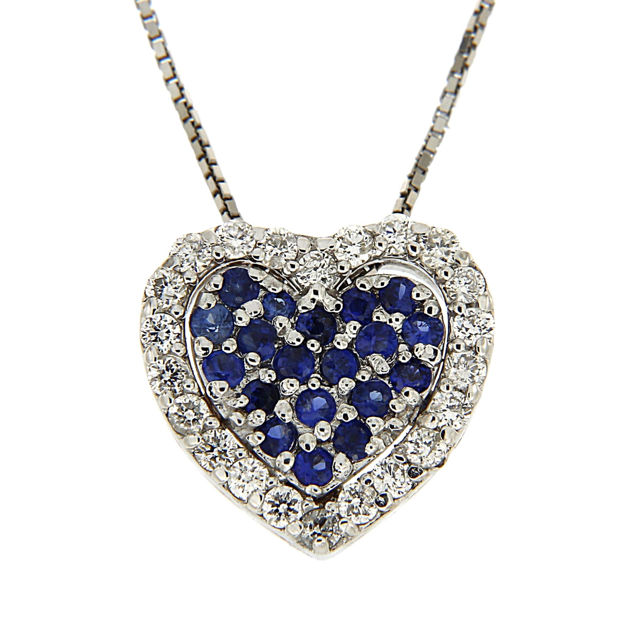 Pendente Cuore con Zaffiri e Diamanti Linea Gioia