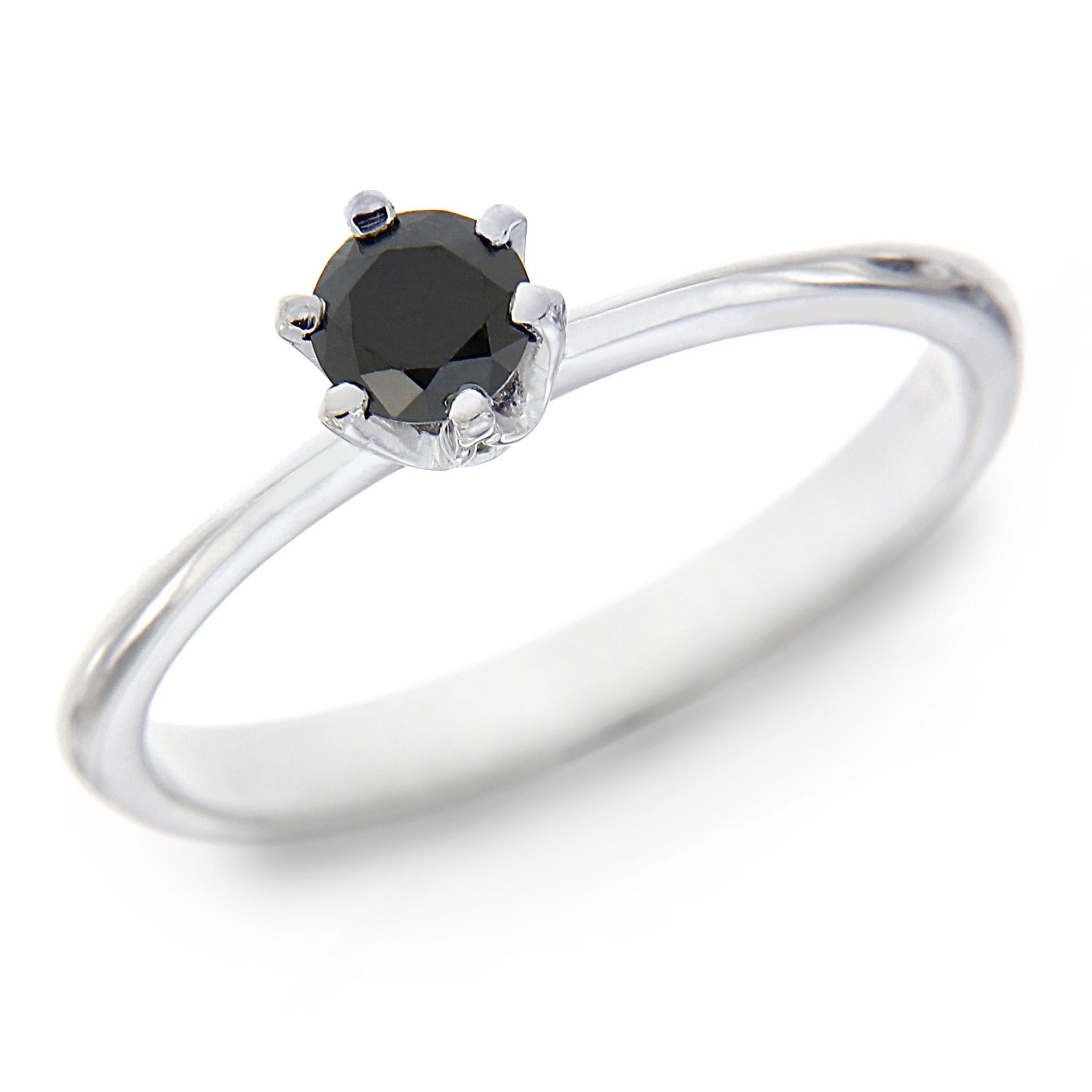 Anello Solitario con Diamante Nero CT 0.30 Linea Emily
