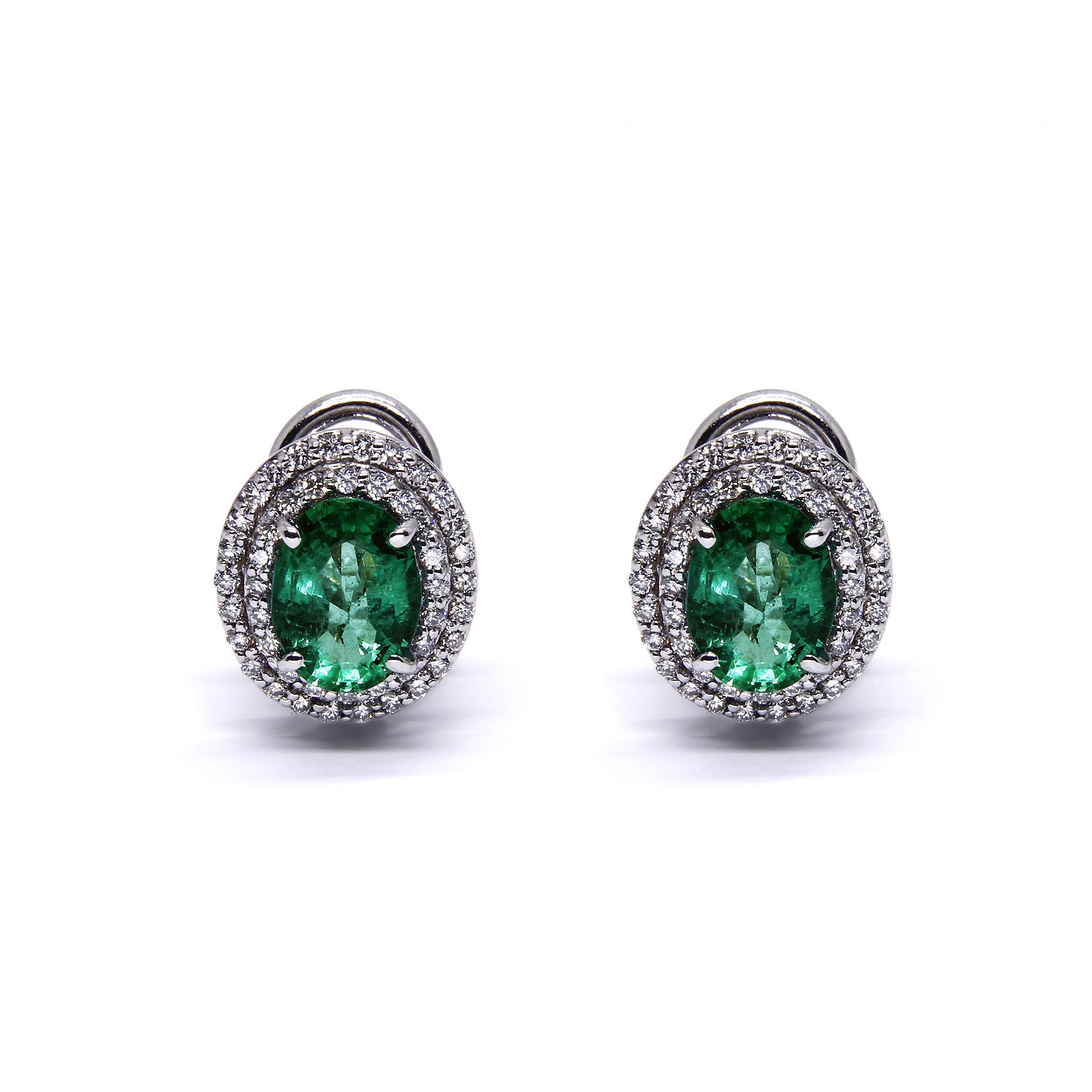 Orecchini con Smeraldo e Diamanti Linea Irma